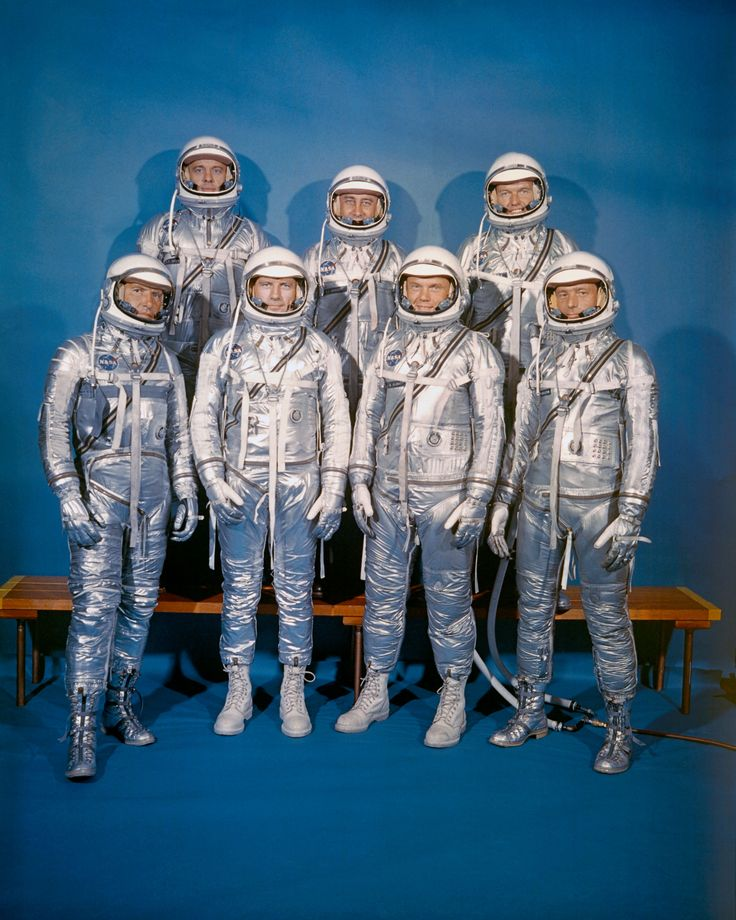 "The Mercury 7 On April 9, 1959, NASA introduced its first astronaut class, the Mercury 7. Front row, left to right: Walter M. Schirra, Jr., Donald K. ""Deke"" Slayton, John H. Glenn, Jr., and M. Scott Carpenter; back row, Alan B. Shepard, Jr., Virgil I. ""Gus"" Grissom, and L. Gordon Cooper, Jr."