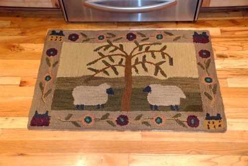 Sheep Hooked Rug Rug Hooking Pat Pinterest Rugs