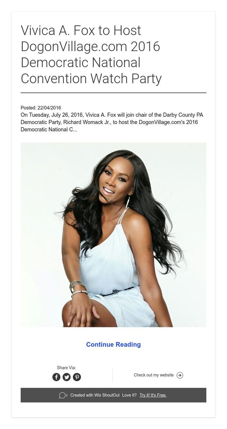 Vivica A. Fox to Host DogonVillage.com 2016 Democratic National Convention Watch Party