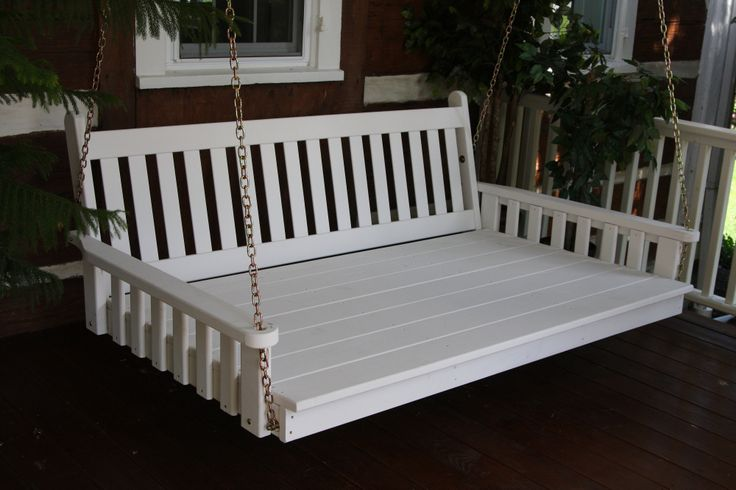 6ft traditional English porch swing bed. Huge oversized porch swing is perfect for relaxing - pair with a cushion and accent pillows for even more comfort. Amish made in the USA