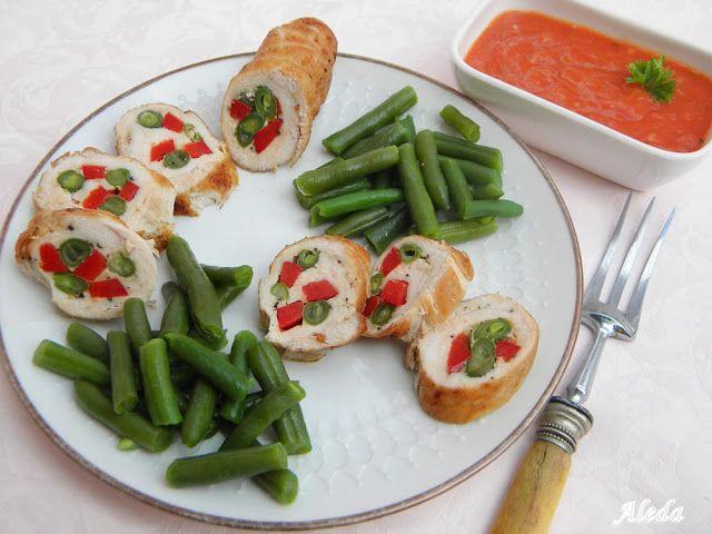 Aleda konyhája: Zöldséges csirkemelltekercs vajas zöldbabbal