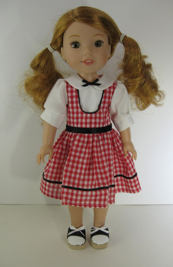 Wellie Wisher Red and White Gingham Dress and Black and White Shoes by TheForgetMeNotShop on Etsy
