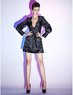 Tubinho Decote V Curto / Mini Cetim Elástico Coquetel Reunião de Classe Feriado Vestido com Drapeado Lateral Lantejoulas de TS Couture®