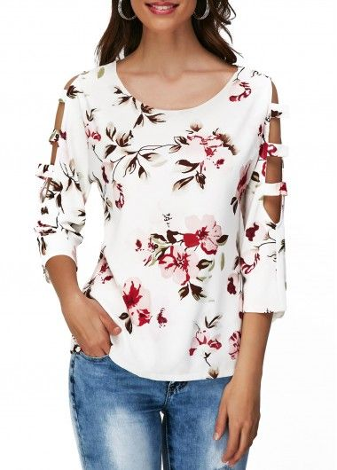 Round Neck Flower Print Cutout Sleeve T Shirt | Rosewe.com - USD $26.80