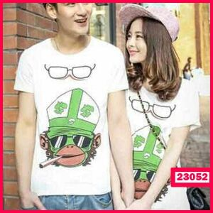 T-Shirt Couple Monkey Smoke Green - Butik Pakaian
