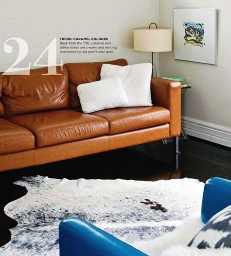 leather couch - trying to decide if I like Caramel color scheme......