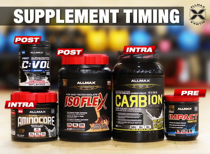 Timing is everything - in and out of the gym.  #IMPACTIgniter is your PRE to give you focus, strength and the motivation.  #CARBION+ is your INTRA workout fuel you take throughout your training to give you sustained energy. #AMINOCORE is your INTRA workout muscle support you take during your workout, full of BCAAs.  #CVOL is your POST workout muscle recovery to take immediately after your workout.  #ISOFLEX is your POST workout muscle #gains and recovery to take right after you train.