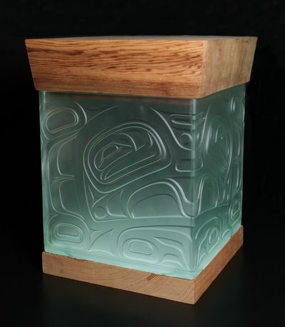 """Chief of the Sea box by Alano Edzerza, Tahltan culture. Glass and red cedar, 16 x 12 x 12"""" 