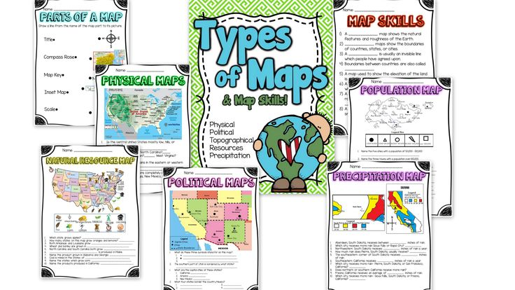 Types of Maps and Map Skills Pack  Social Studies grades 2 ...