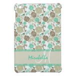 Lush pastel mint green beige roses on white name cover for the iPad mini