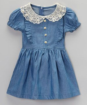 This Blue Denim Smocked Short-Sleeve Dress - Infant, Toddler & Girls by Sweet Cheeks is perfect! #zulilyfinds