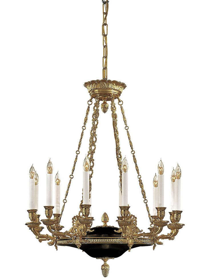 87 best antique reproduction lighting images on pinterest antique reproduction lighting french empire 12 light chandelier in dore gold black aloadofball Image collections