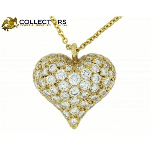 85 best necklaces images on pinterest yellow beautiful and gold tiffany co 18k yellow gold diamond pave puffed heart pendant necklace 16 this gorgeous mozeypictures Image collections