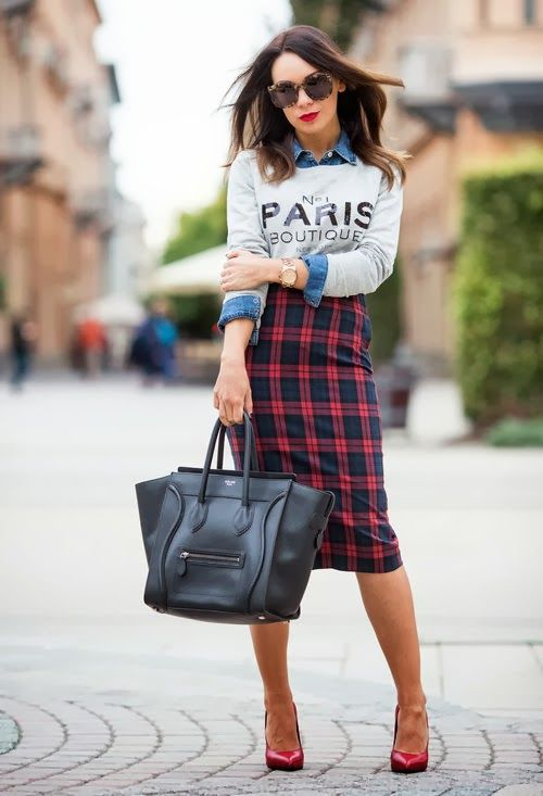 Falda de tubo tartan, street style, moda, blog de moda, fashion blogger
