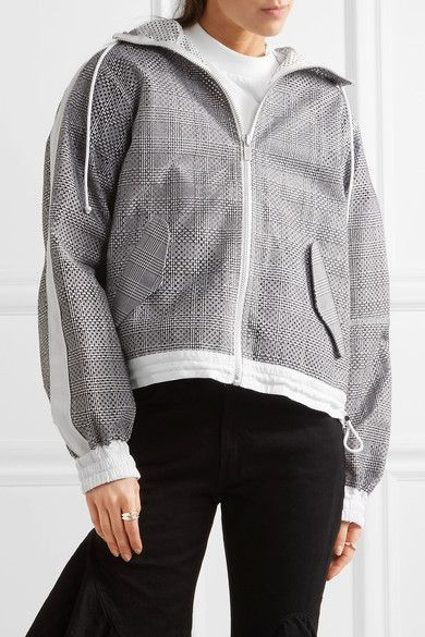 Sacai - Hooded Laser-cut Prince Of Wales Checked Cotton-jacquard Jacket - Dark gray - 2
