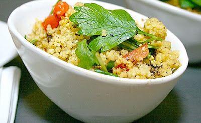 warm chicken salad with pumpkin and couscous plus capsicum cashew dip