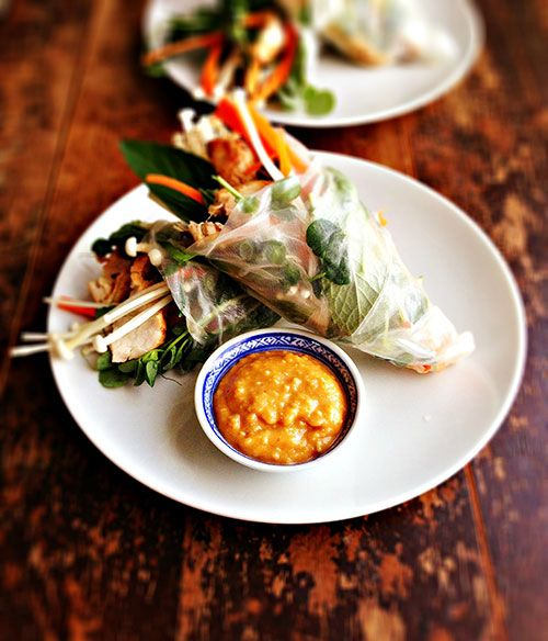 Grilled Thai Turkey Salad Rolls with Enoki Mushrooms & Peanut Sauce by Sweet Sugar Bean