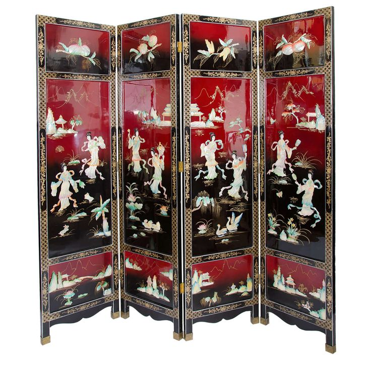 Vintage Chinoiserie Lacquered Coromandel Screen Room ...