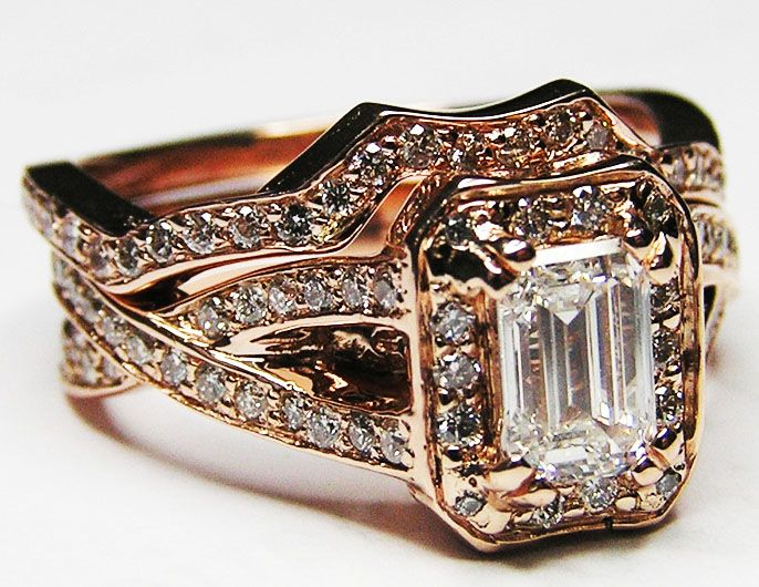 Rose gold Emerald Cut Diamond twisted wrapped bridal set: Band Bridal, Diamonds Twists, Band Engagement, Pink Gold, Matching Weddings Band, Twists Band, Emeralds Cut Diamonds, Gold Emeralds, Engagement Rings