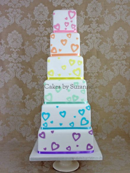 Pastel Rainbow Hearts Wedding Cake (note2me...just for the how to on the hearts..)