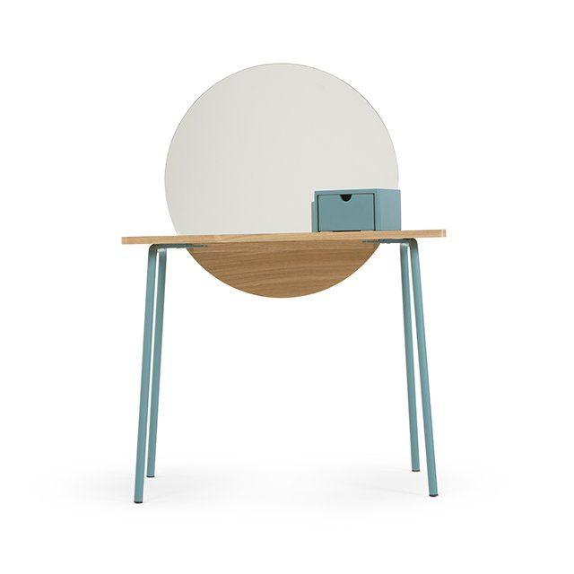 Coiffeuse Aldo avec miroir et piètement bleu turquoise // Blue dressing table with a mirror