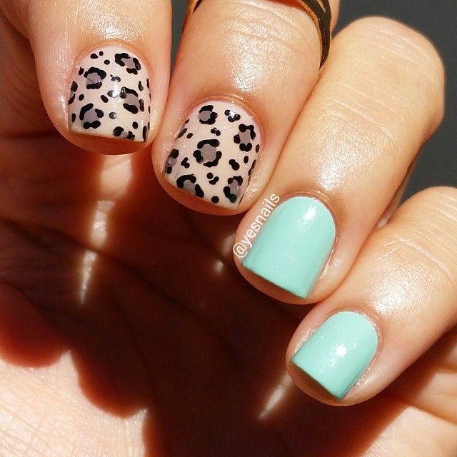 Simple leopard manicure