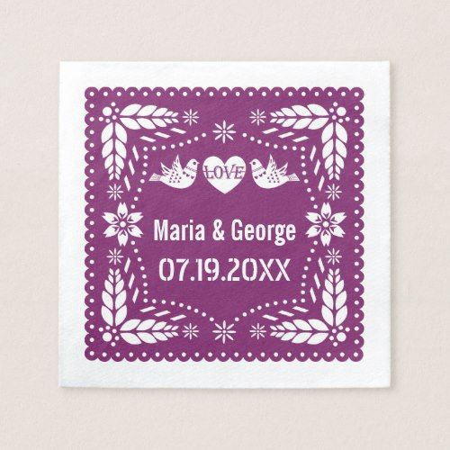 Papel picado love birds purple wedding fiesta paper napkin