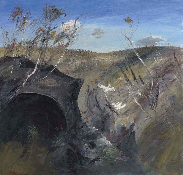 blastedheath: Arthur Boyd (Australian, 1920-1999), Australian Landscape, Cockatoos near a Cave, 1974. Oil on canvas, 43 x 45 in.