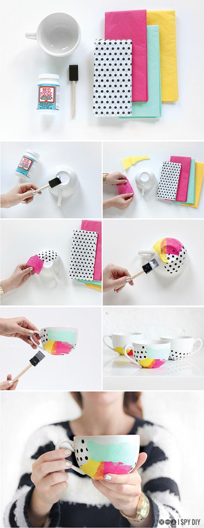 Cómo decorar tazas del café con papel  #diy #handmade