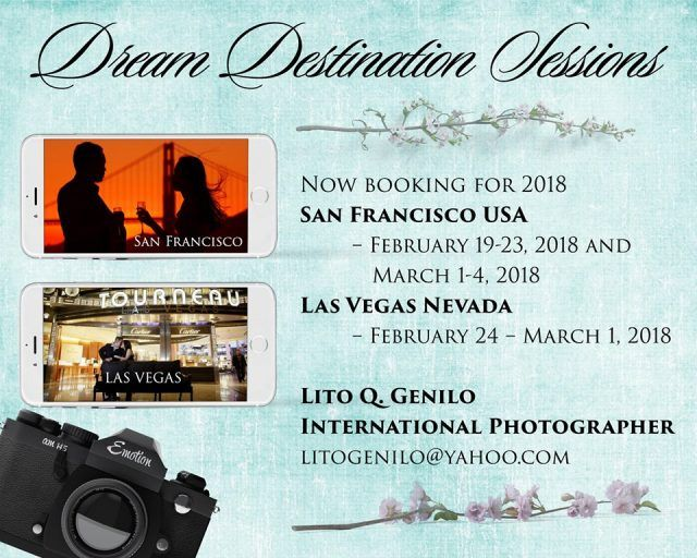 """Supplier Promo Alert:   Lito Q. Genilo International Photographer is now accepting bookings for his """"Dream Destination Sessions"""" taking place in the US this year.   Details on https://www.kasal.com/catch-smart-shot-studios-lito-genilo-us  #bridallook #weddinglook #hairandmakeup #bridalhairandmakeup #HMUA #bridalHMUA #weddinghairandmakeup #weddingHMUA #weddingdesign #WeddingIdeas #specialevent #WeddingDay #Magic #Weddings #yesday #specialday #love #lovelywedding #bride #groom #brideandgroom…"""