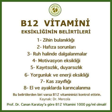 """102 Likes, 8 Comments - Sağlıklı Yaşıyoruz® (@saglikliyasiyoruzcom) on Instagram: """"B12 (ENERJİ) VİTAMİNİ EKSİKLİĞİNİN BELİRTİLERİ! 1- Zihin bulanıklığı, 2- Hafıza sorunları, 3-…"""""""