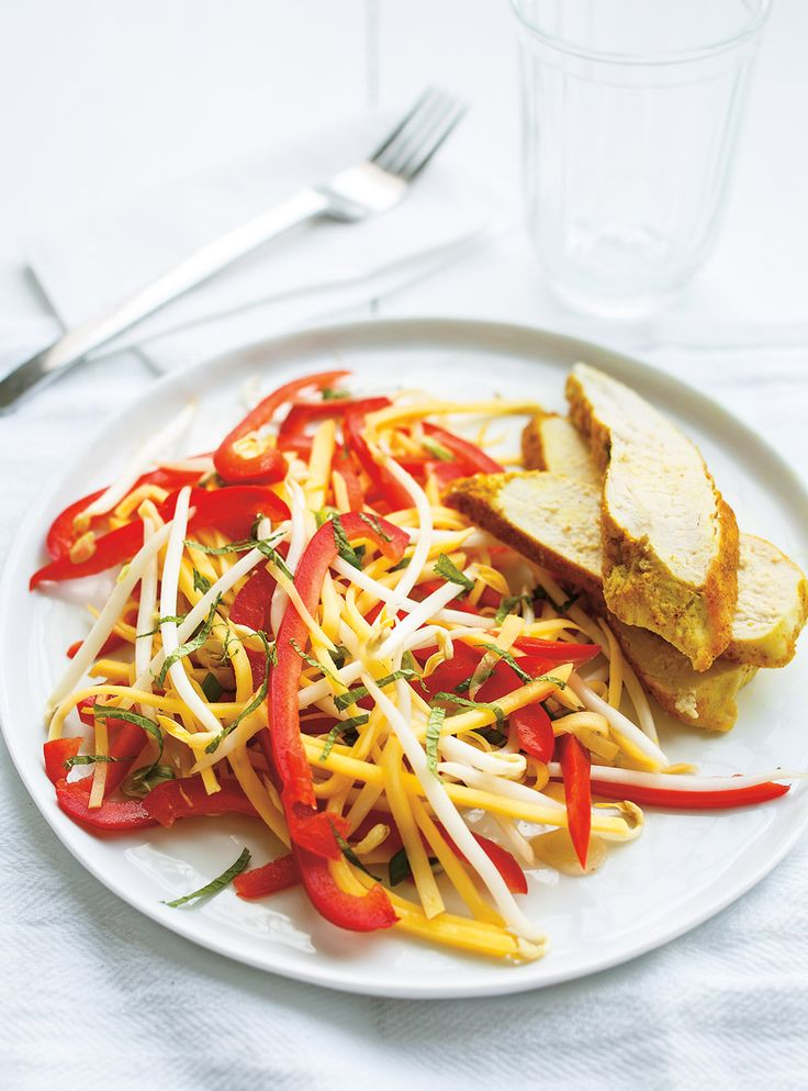 Recette de Ricardo de salade de mangue verte et poulet au cari