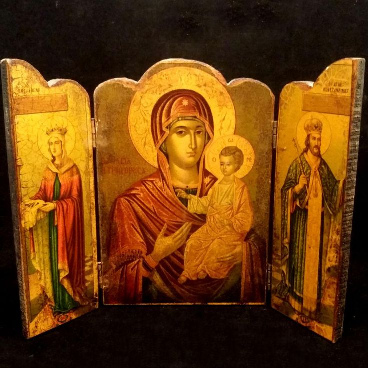 Greek Icon Triptych from vintagecatholic on Ruby Lane