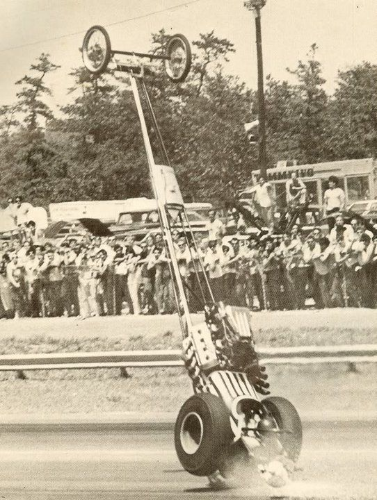 Old school dragster-clearly, with NO wheels on the ground, this baby's not going anywhere!