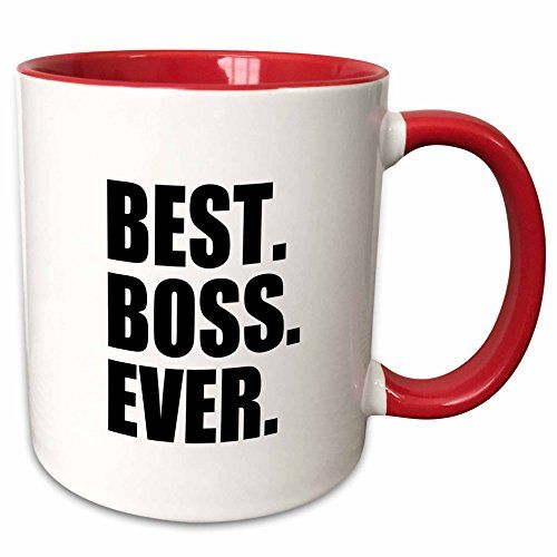 3dRose InspirationzStore Typography  Best Boss Ever  fun funny humorous gifts for the boss  work office humor  black text  11oz TwoTone Red Mug mug_151477_5 ** Visit the image link more details.