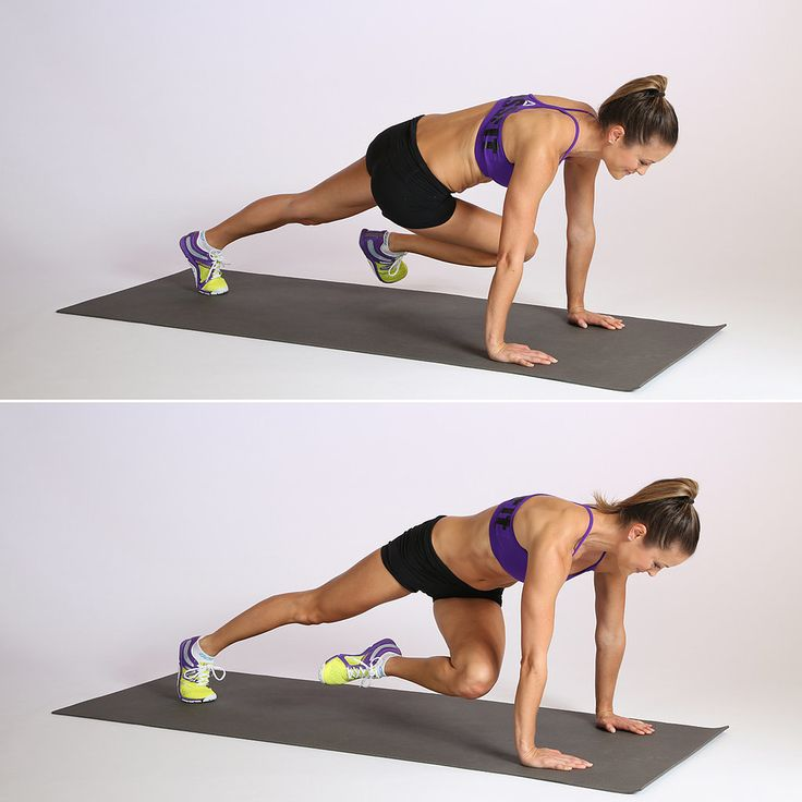 Twisted Mountain Climber Start in a traditional plank — shoulders over hands and weight on your toes. With your core engaged, twist to bring your right knee forward under to your left elbow. Return to your basic plank to complete a rep. Switch legs, bringing the left knee forward to the right knee for your second rep.