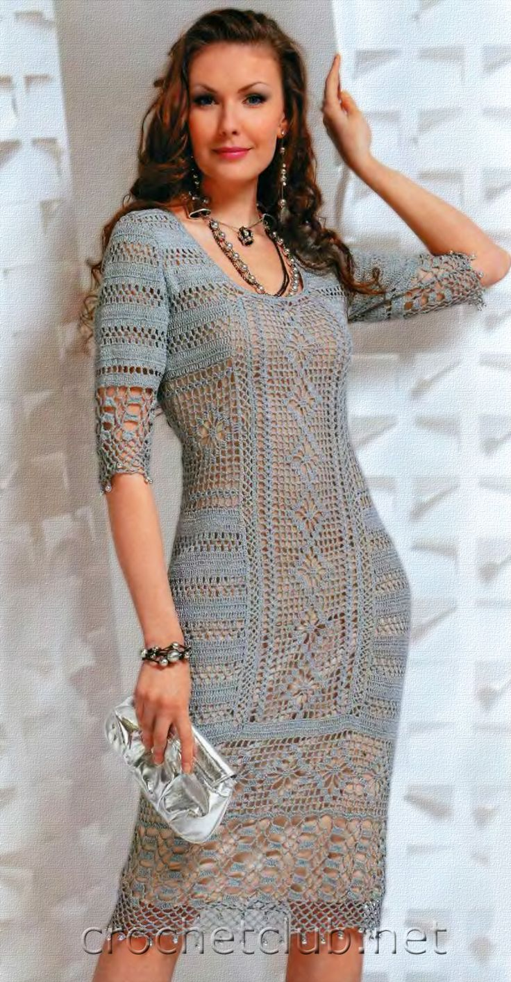 Gorgeous fitted crochet dress pattern with diagram that goes just below the knee with three quarter sleeves! More Great Patterns Like This