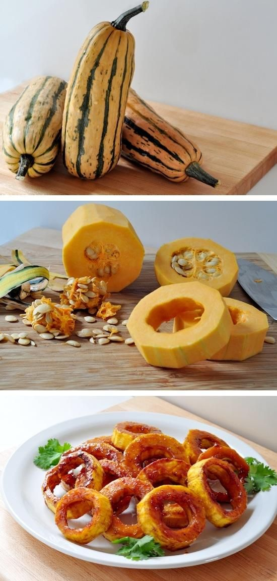 Maple-glazed delicata squash rings - pair with pork chops, spicy flavors, or roasted chicken and risotto