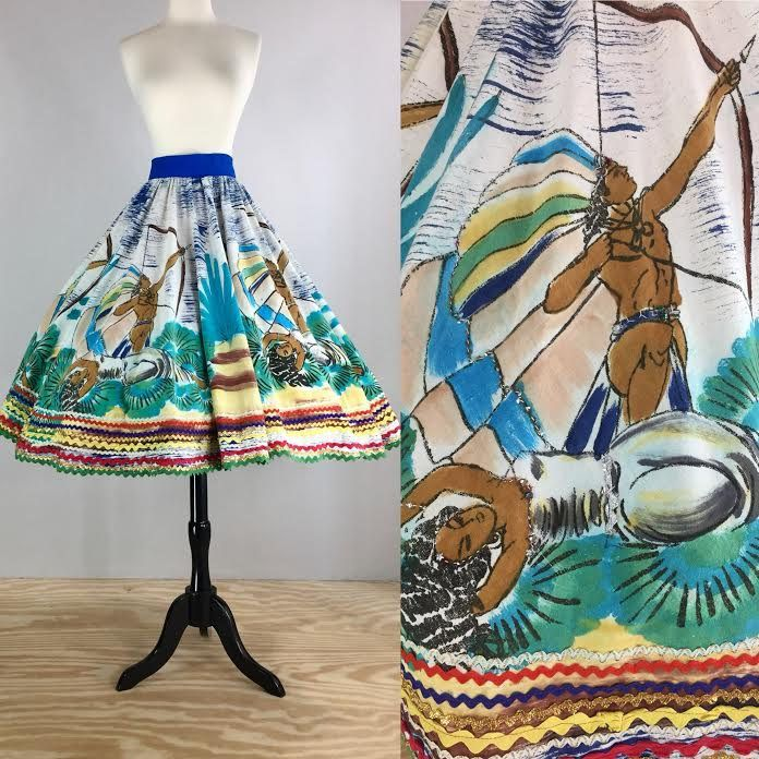 1950's Mexican Hand-Painted Popocatépetl & Iztaccíhuatl Mythological Novelty Print Full Cirle Skirt with Sequins and Trim | Size Large