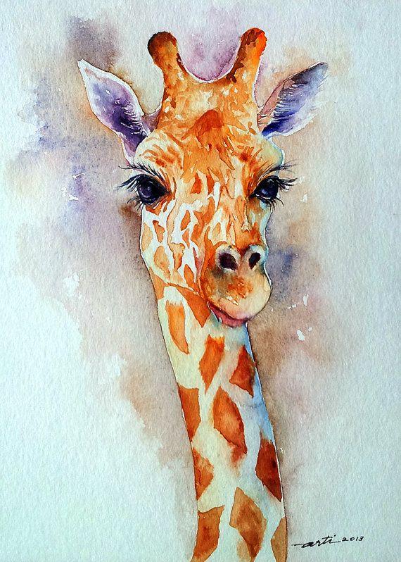 Girafe Animal Original Aquarelle, peinture 9 x 12
