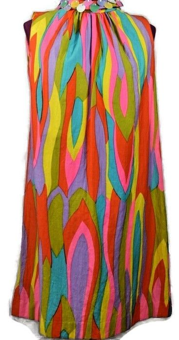 VTG Mod Dress Go Go Bright Psychedelic Scooter Shift Wedding Hippie Sequins 10 #Symphony #Mini #Cocktail