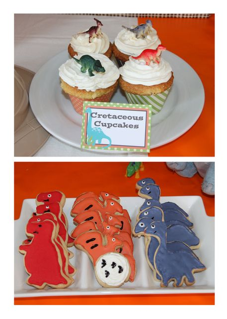 Cookies and cupcakes at a Dinosaur party #dinosaur #party