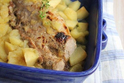 Si vous aimez le sucré-salé... Ingrédients pour 4 personnes: 1 filet pur de porc d'environ 600 gr 4 pommes reinette le jus d'un citron 8 cs de sirop d'érab