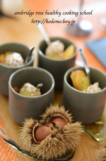 2014.10 lesson Mont Blanc aux marrons and apple caramel  non egg,milk,wheat アレルギー対応のモンブラン、アップルキャラメリゼ