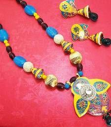Material Used : Meenakari    Necklace    Length : 24 cm   Width : 5 cm     Earrings   Length : 6 cm   Width : 2.5 cm Weight : 68 gms