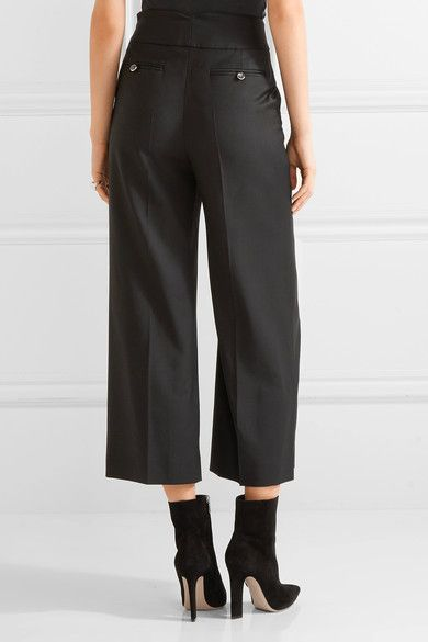 Temperley London - Opus Cropped Button-detailed Twill Wide-leg Pants - Black - UK16