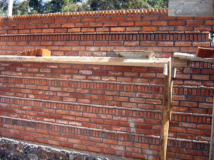 Muro aparente de tabique de barro rojo arq tabique for Ladrillos decorativos para exteriores