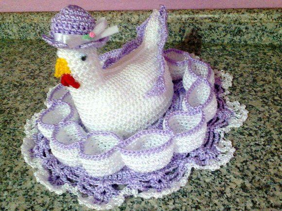 galinha porta ovos de croche   Galinha porta ovos   Suna arte em crochê   Elo7