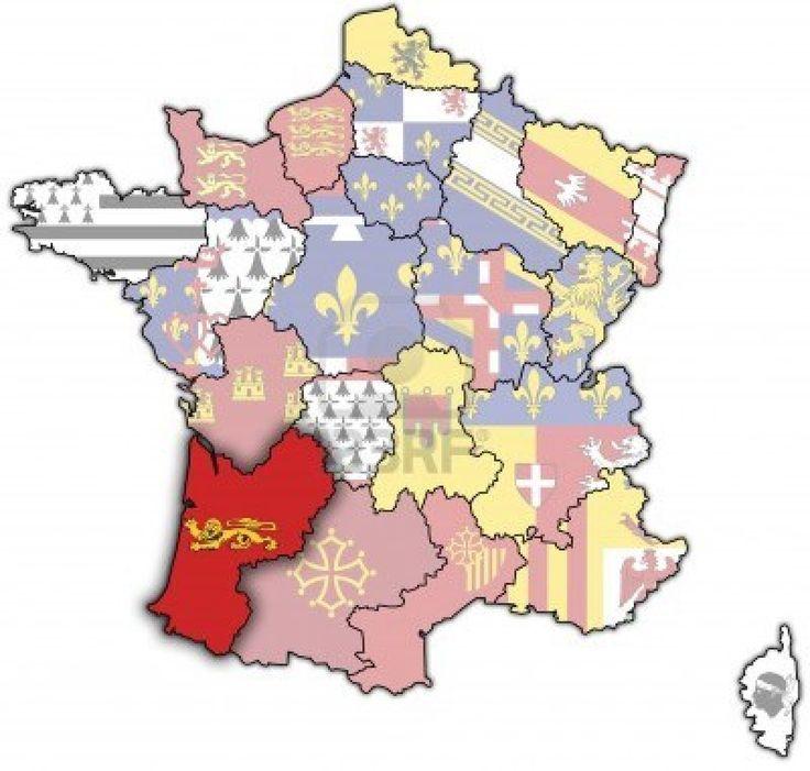 Aquitaine sur une carte ancienne de france avec les drapeaux des divisions administratives Banque d'images - 6791869