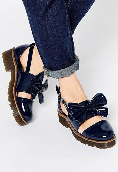 ASOS navy patent bow flat shoes
